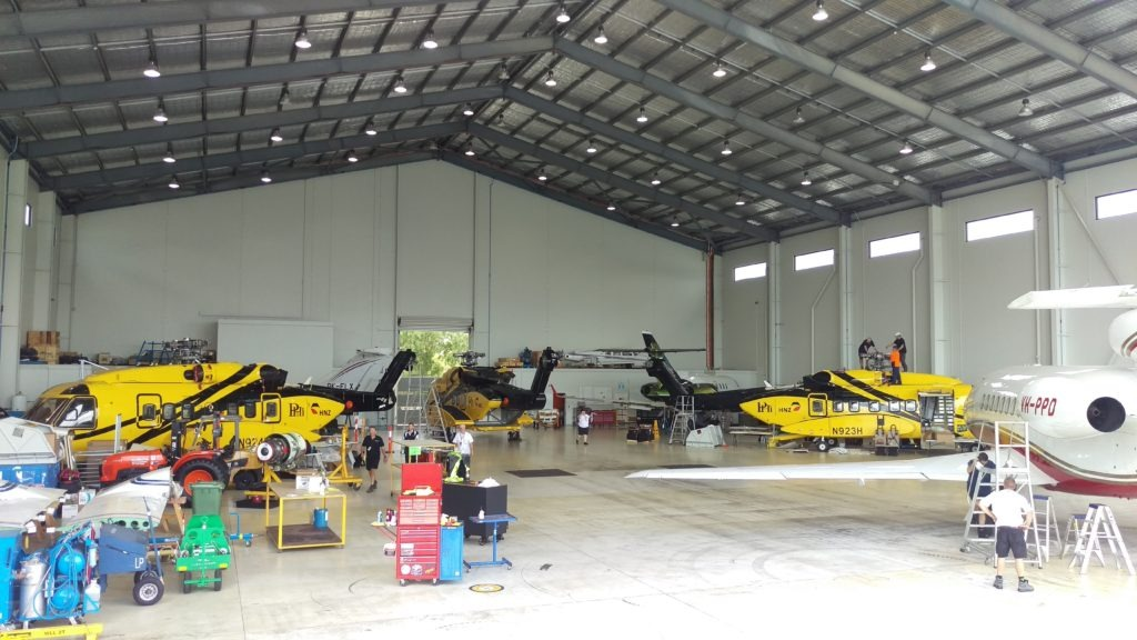 helicopter in hanger