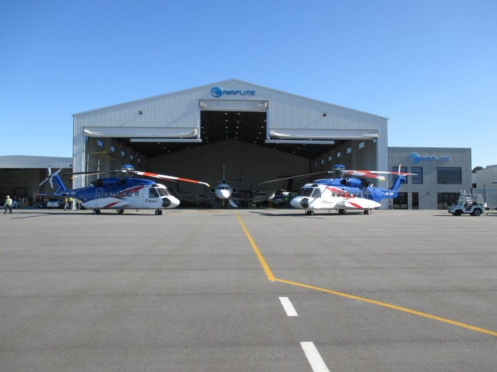 helicopter outside hanger